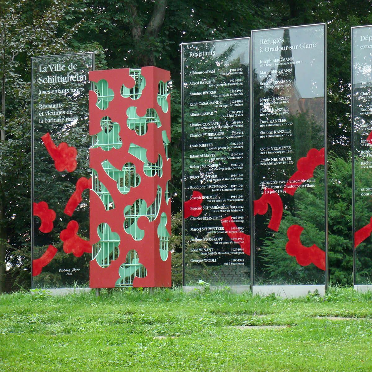 Barbara Jäger Malerei Skulptur Karlsruhe Widerstandsdenkmal Schiltigheim Stele de la Resistance