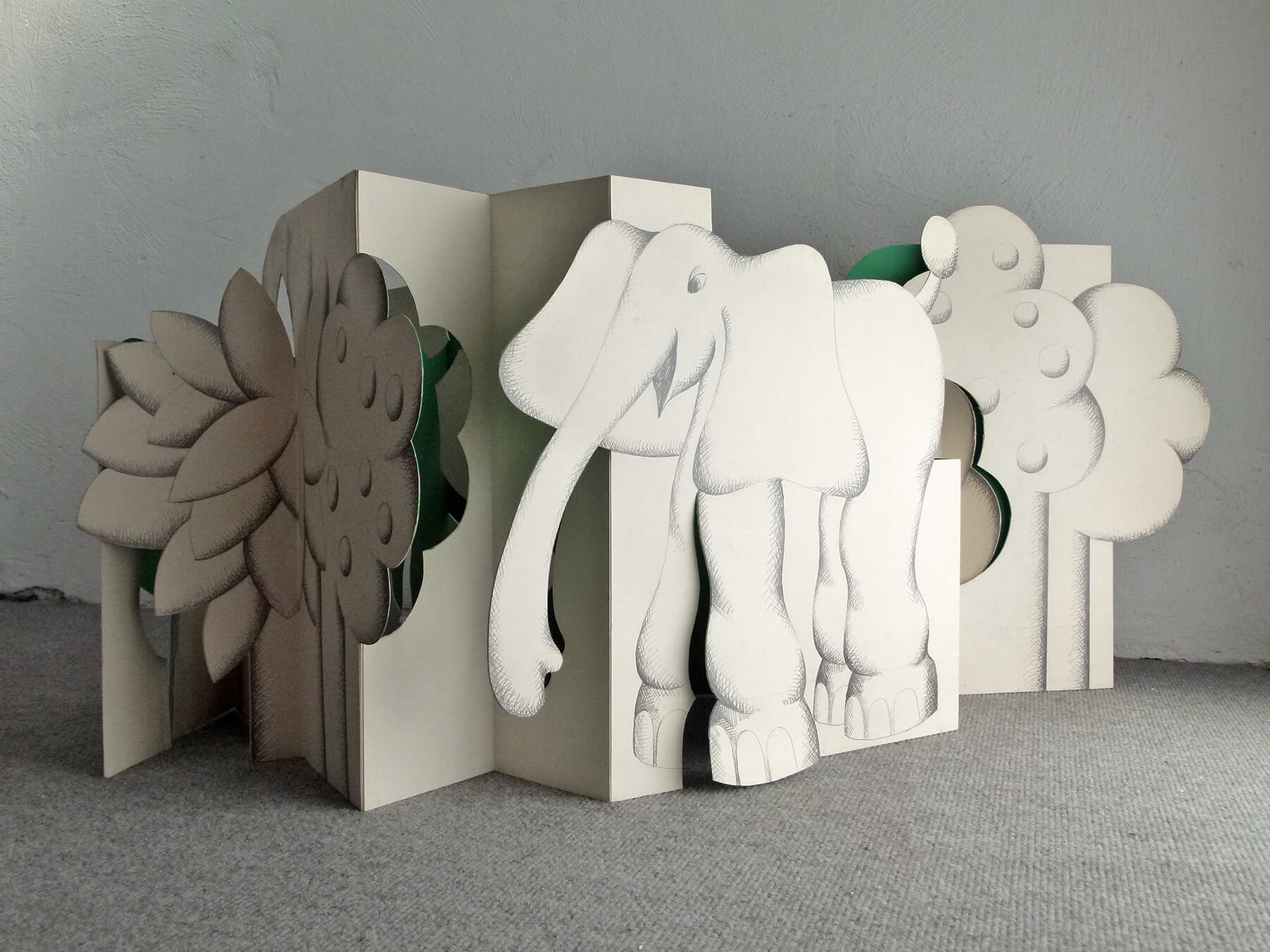 Barbara Jäger Elefantenleporello Kunstakademie Karlsruhe 1969