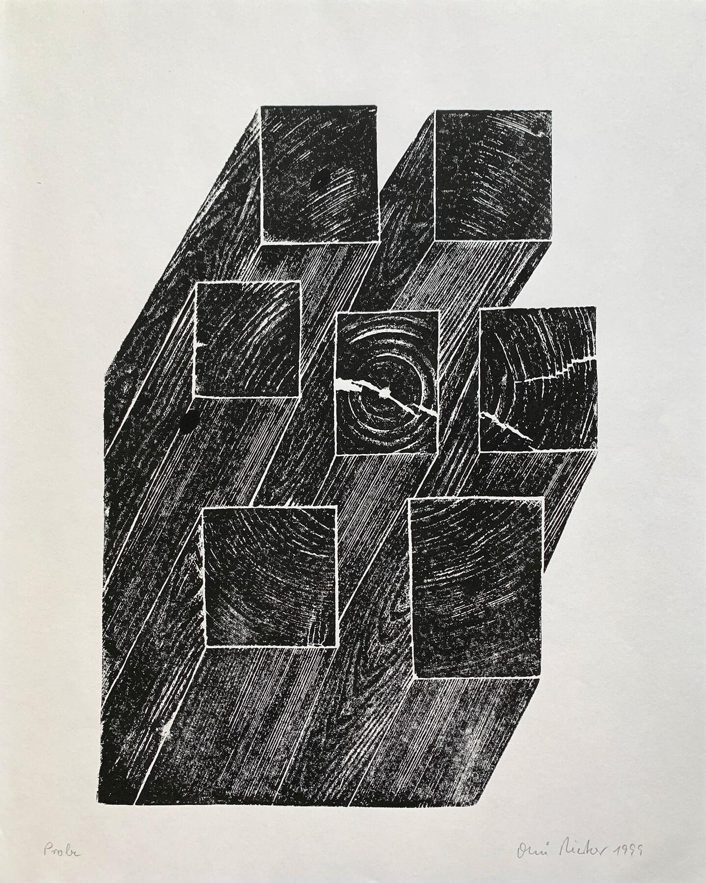 OMI Riesterer Grafik Karlsruhe Baumscheibe Holzdruck
