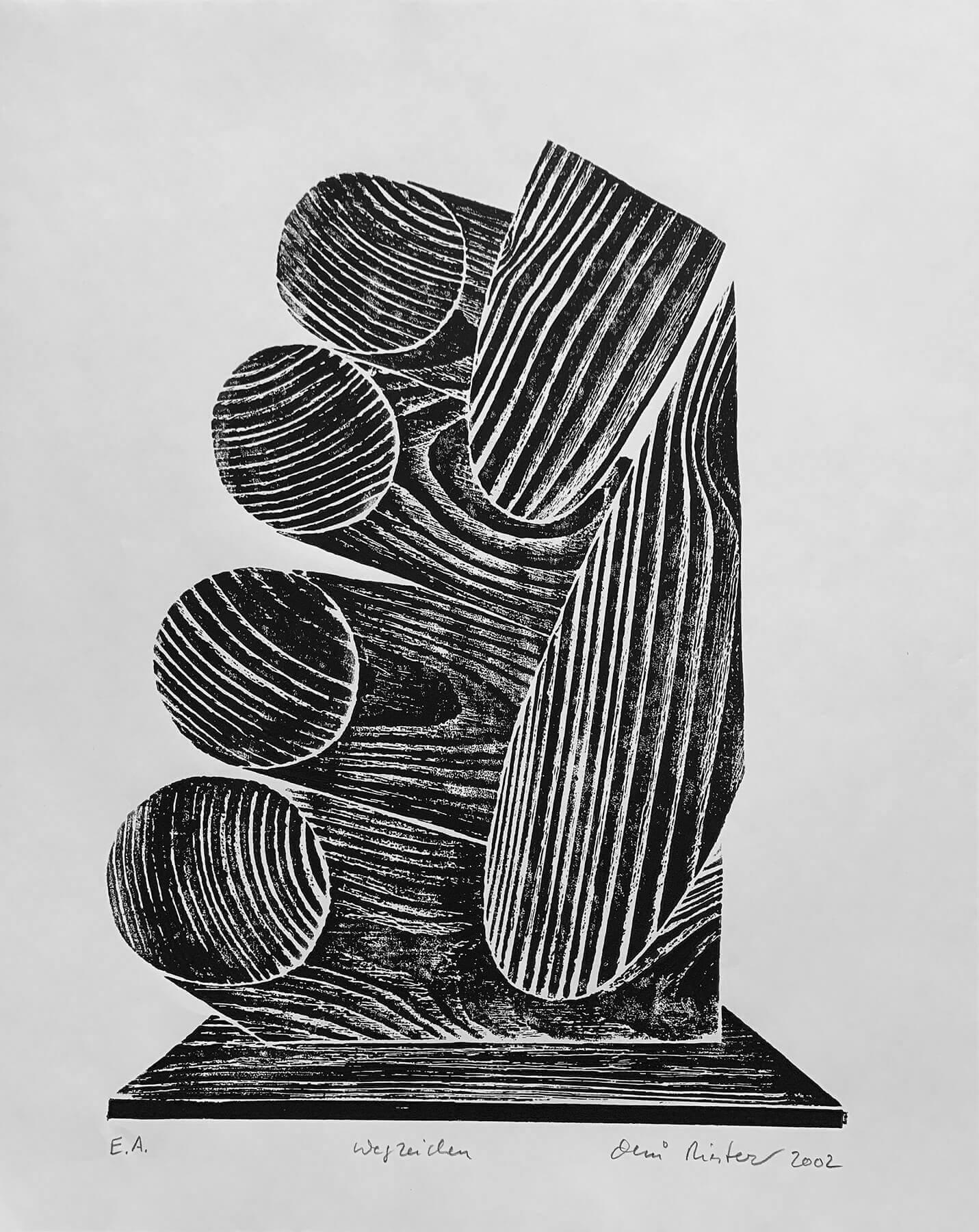 OMI Riesterer Grafik Karlsruhe Wegzeichen Holzdruck