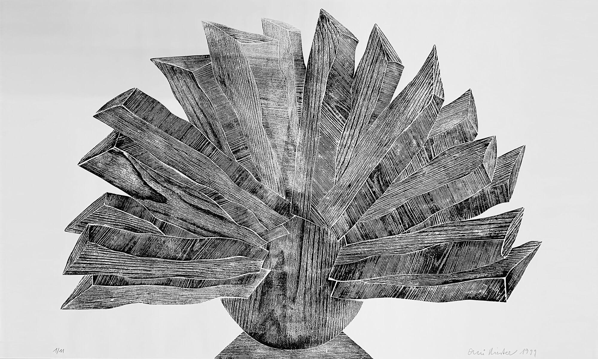 OMI Riesterer Grafik Karlsruhe Fächer Holzdruck