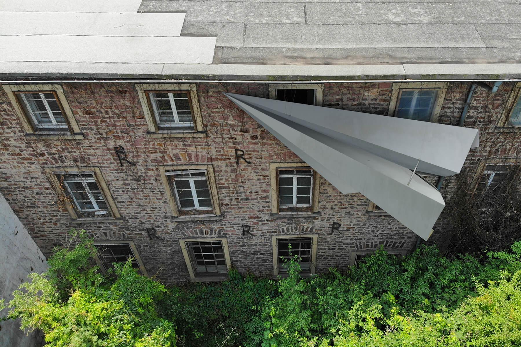 Bildhauer OMI Riesterer Karlsruhe Projekte Kunst im öffentlichen Raum Flieger im Baum Bulach