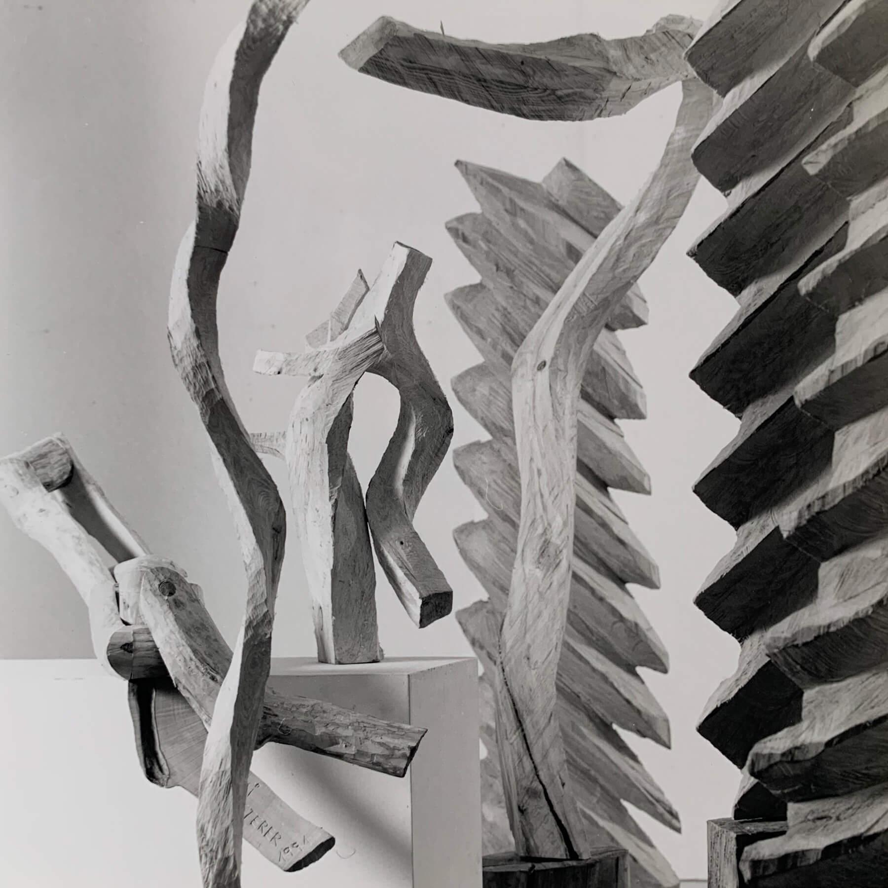 Bildhauer OMI Riesterer Skulpturen Kette Flachschrauben Wetterfahnen Wanderstab