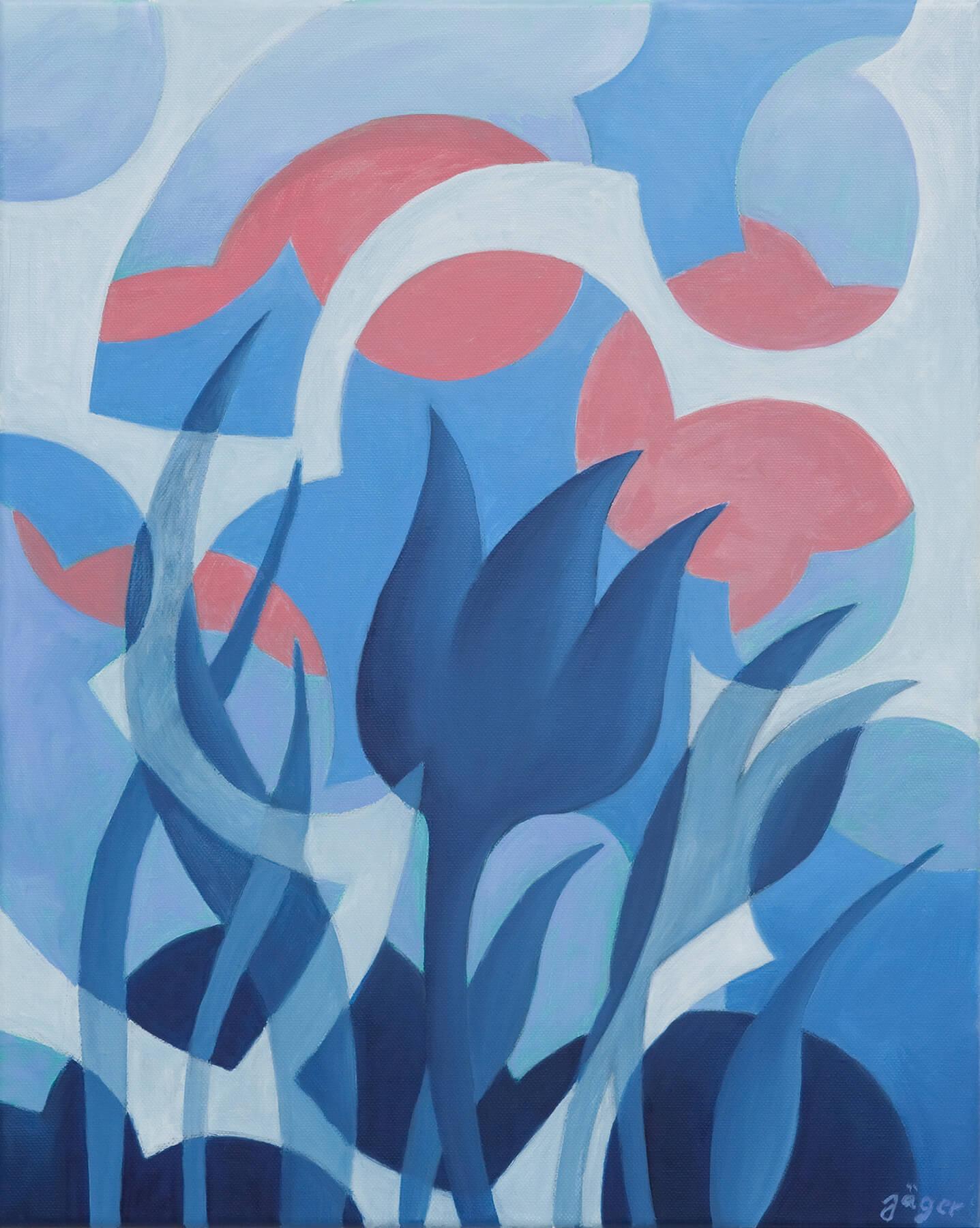 Barbara Jäger Karlsruhe Gemälde Öl auf Leinwand Blaue Tulpe 2017