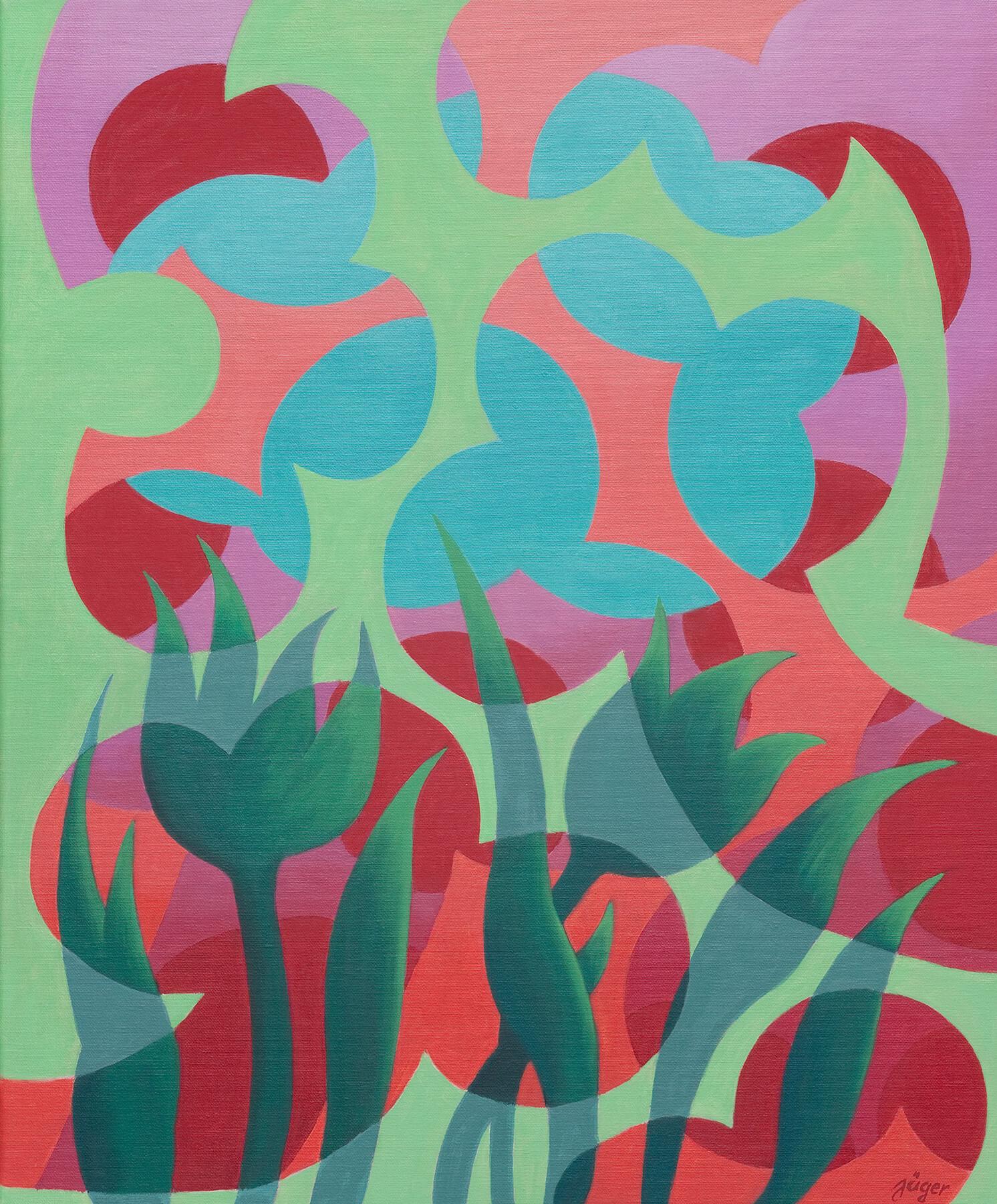 Barbara Jäger Karlsruhe Gemälde Öl auf Leinwand Grüne Tulpen 2017